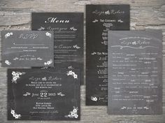 Chalkboard menu/thank you card/rsvp from the lovely Sea Of Love Studios #etsy