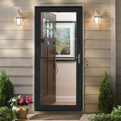 Andersen 36 in. x 80 in. 3000 Series Black Right-Hand Self-Storing Easy Install Aluminum Storm Door with Nickel – The Home Depot – farmhouse front door with screen Aluminium Front Door, Aluminum Storm Doors, Glass Storm Doors, Glass Doors, Aluminum Screen, Front Door With Screen, Front Door Trims, Glass Front Door, Front Entry