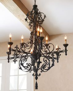Shop Wrought-Iron Chandelier from John-Richard Collection at Horchow, where you'll find new lower shipping on hundreds of home furnishings and gifts. Wrought Iron Decor, Wrought Iron Chandeliers, Antique Chandelier, Chandelier Lighting, Chandelier Picture, Quinta Interior, Home Interior, Lustre Antique, Black Iron Chandelier