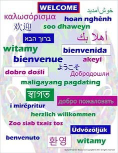 Multilingual Welcome Poster.  Display in your ESL, EFL or General Ed classroom.