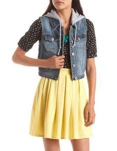 Dollhouse Knit Hood Denim Vest: Charlotte Russe