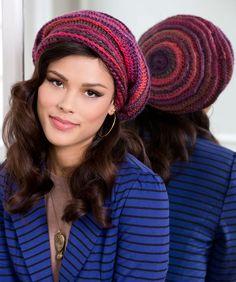 Red Heart free crochet pattern slouchy hat