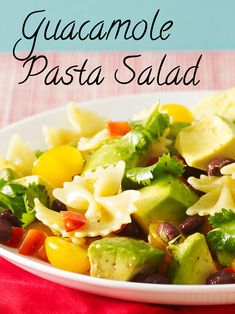 Turn guacamole into a meal! Chop the ingredients, add some salad dressing and pasta and you're done.