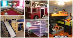 DIY Kids Bunk Bed Free Plans [Picture Instructions]: make usage of floor space for kids desk, storage or playhouse.