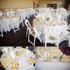 white linens + white wooden folding chairs and pale yellow fabric runners