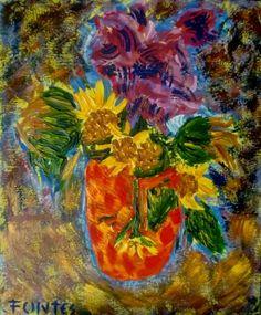 Arte Moderna & Contemporânea: Still life with sunflowers