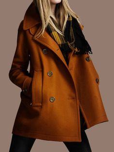 Love this color so much! Bronze Double Breasted Woolen Coat | Choies