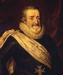King Henry IV of France. The first Bourbon King of France.(1553-1610) Raised a Protestant, Catherine De Medici and Henry II arranged a marriage between Henry, King of Navarre and their Catholic daughter Margaret.  Following the death of last male Valois, Francois Duke of Anjou, in 1584, Henry of Navarre, King Henry of France and Henry, Duke of Guise fought to gain control of the French Throne. Henry gained the upper hand in 1589, when Henry III was assassinated.