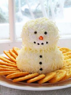 Snowman Cheese Dip – Best Fast Authentic & Healthy Christmas Party Food Recipe - DIY Craft (2)