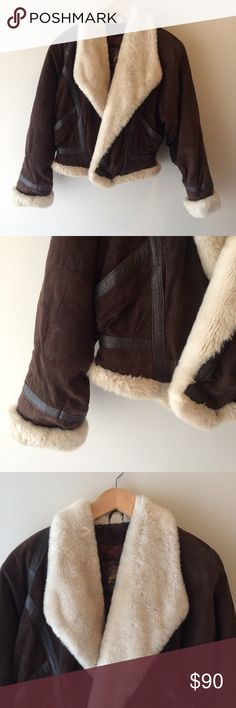 Wilsons Leather Adventure Bound Fur Bomber Jacket Genuine leather bomber jacket with faux fur trim. Astounding jacket, warm and luxurious. Size xs. Top portion is generously sized, the waist is very narrow if you want to zip it up. Would be a true xs. Wilsons Leather Jackets & Coats