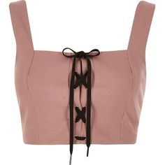 River Island Nude structured corset tie crop top (€22) ❤ liked on Polyvore featuring tops, crop tops, shirts, tank tops, nude, sale, women, tie shirt, corset tops and structured crop top