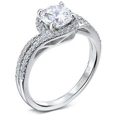 14kt White Gold (H/SI) Ladies Encircle Center Design Engagement Ring From the Luminaire Collection by Scott Kay