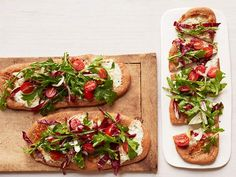 Tricolor Salad Pizzas: Save time by using store-bought whole wheat pizza dough for this simple pie. Cut down on the fat by using part-skim mozzarella and ricotta cheeses.