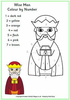 Wise Man Colour by Number Sunday School Lessons, Sunday School Crafts, Lessons For Kids, School Kids, Christmas Color By Number, Christmas Colors, Christmas 2019, Man Crafts, Bible Crafts
