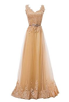 82b57d8600161 Fanhao Women s Embroidery Plume Belt Lace-up Gold Long Prom Bridesmaid Dress