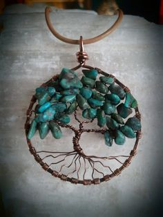 Turquoise and Copper Tree of Life Pendant