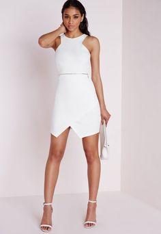 Sleeveless Zip Waist Shift Dress Ivory - Dresses - Shift Dresses - Missguided