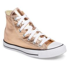 Women's Converse Chuck Taylor All Star Metallic High Top Sneaker ($65) ❤ liked on Polyvore featuring shoes, sneakers, metallic high tops, star sneakers, converse shoes, converse sneakers and converse trainers