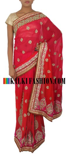 Add some jazz to your party with this saree: http://www.kalkifashion.com/red-saree-embellished-in-kundan-and-zardosi-only-on-kalki.html Free shipping worldwide.