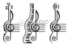 violin: monochrome illustration of violin, guitar, piano and treble clef