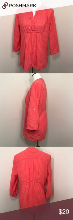 Coral Calvin Klein Tunic. Size M. Coral Calvin Klein Tunic. Size M. Work handful of times! Super comfy with roll up sleeves. Calvin Klein Jeans Tops Tunics