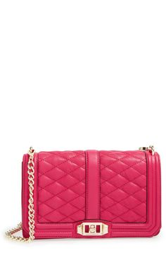 Crushing on this pink quilted leather Rebecca Minkoff crossbody bag.