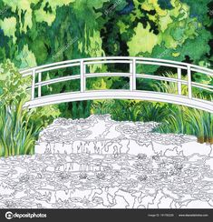 The Water Lily Pond 1899 By Claude Monet Adult Coloring Page Mothers Day Coloring Sheets, Monet Water Lilies, Free Adult Coloring Pages, Halloween Coloring Pages, Lily Pond, Impressionist Paintings, Claude Monet, Free Illustrations, Wall Murals