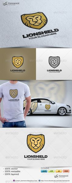 Lionshield Logo Template Tiger Logo, Lion Logo, Vintage Logo Design, Custom Logo Design, Graphic Design, Unique Logo, Modern Logo, Logo Design Template, Logo Templates