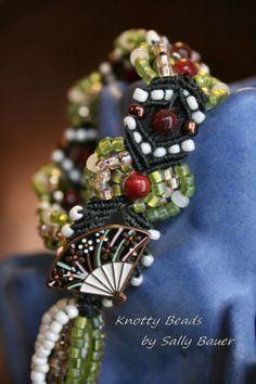 Orient Delight Beaded Macrame Bracelet with by KnottyBeadsbySally, $38.00