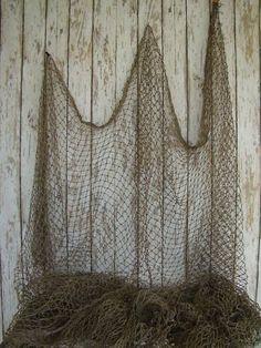 Authentic Used Fishing Net Vintage Fish Netting Decor   eBay
