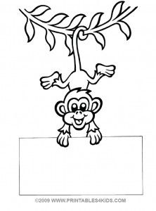 Monkey Hanging Coloring Printables For Kids Free Word Search Puzzles Pages And Other Activities