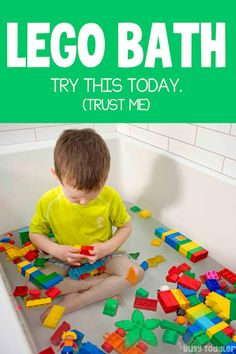 Do you need an easy activity to save the day? The LEGO bath is what you (and your kids) need. Indoor Activities For Toddlers, Toddler Learning Activities, Summer Activities For Kids, Preschool Activities, Toddler Play, Toddler Preschool, Toddler Development, Baby Kind, Lego