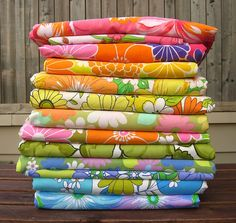 Vintage Sheet fabrics... by thought & found / Sheila, via Flickr