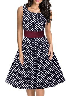 Miusol Damen Elegant Rundhals Traegerkleid 1950er Retro Polka Dots Cocktailkleid Faltenrock Kleid Blau Groesse S