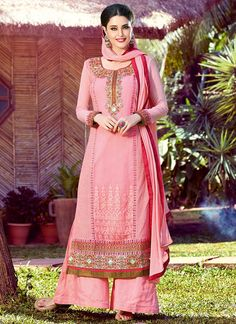 Light Pink Georgette Palazzo Suit