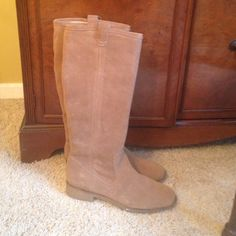 Lands End. Suede boots. Never worn! Lands End NICE suede boots. Light tan or Taupe color. Side zip part way up. Rubber sole and heel. I got these from another Posher, and they just don't fit my tiny bird legs :( They're brand new. Never worn! Price is firm. Lands' End Shoes Winter & Rain Boots