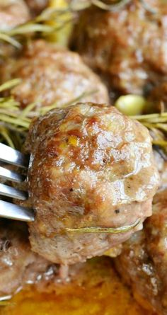 Roasted Garlic Rosemary Baked Meatballs ~ Out of this world delicious baked meatballs. Juicy, tender meatballs made with beef and pork mixture, roasted garlic and rosemary inside and baked with more garlic and rosemary. Ground Beef Recipes, Pork Recipes, Cooking Recipes, Healthy Recipes, Meatball Recipes, Recipes With Ground Lamb, Recipies, Turkey Recipes, Beef Dishes