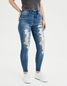 AE Ne (X) t Level Super High-Waisted Jegging Zerstöre deinen Blues Cute Ripped Jeans, Ripped Jeans Outfit, Ripped Jeggings, Ae Jeans, Trouser Jeans, High Jeans, High Waist Jeans, High Waisted Distressed Jeans, Denim Pants