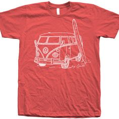 Men Unisex Vintage Van Surf T Shirt Custom Hand Screen Print American Apparel Crew Neck Available: S, M, L, XL, XXL from Couthclothing on Etsy. Vw Camper, Vans Surf, Custom Tee Shirts, Printed Shirts, Vintage Vans, Tailored Shirts, Bikini, Surf Outfit, Tee Shirt Designs