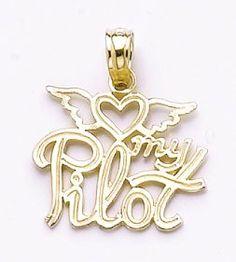 "Amazon.com: 14k Gold Profession Necklace Charm Pendant, """"heart"""" My Pilot Script High Polis: Million Charms: Jewelry"