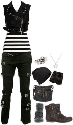 Awesome Striped Outfit Ideas for Different Occasions - Do you like those striped outfits? Why do you avoid wearing them? Although most of the striped outfits appear to be catchy and fascinating, there are . Mode Punk Rock, Mode Emo, Punk Outfits, Gothic Outfits, Fashion Outfits, Scene Outfits, Fashion Boots, Batman Outfits, Cute Emo Outfits