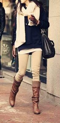 nude skinnies, leather boots, navy sweater, white scarf