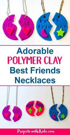 Adorable polymer clay best friends necklaces that kids will love making and sharing with their BFF's! Super simple and fun with endless design possibilities. #diyjewelry #polymerclay #handmadegifts