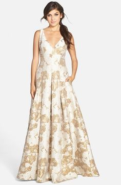 Aidan Mattox Metallic Jacquard V-Neck Gown available at #Nordstrom