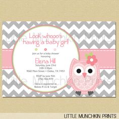 Owl baby shower invitation baby girl pink gray seafoam owl baby shower invitation look whoos having a baby girl grey gray chevron with pink stripe filmwisefo