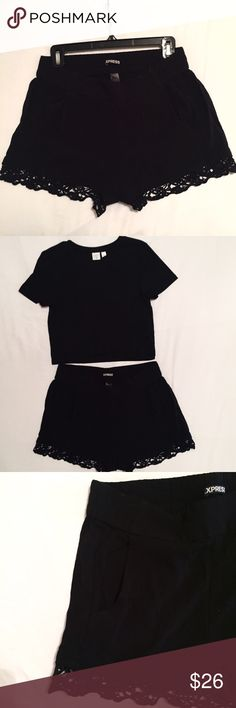 "Express lace trim boho shorts Only worn 2-3 times- still in great condition! Size small, true to size! I wear a 2-4 and these fit great! Black with lace trim! Pockets!!! Elastic waistline- super comfy, chic and ON TREND for 2017! Length approximately 12""! Express Shorts"