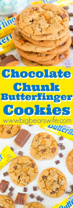 Chocolate Chunk Butterfinger Cookies - These Chocolate Chunk Butterfinger Cookies are soft and chewy cookies packed with chocolate chunks and chopped Butterfinger Candy Bars. One bite of these and youll feel like a kid in a candy store! Cookie Recipes From Scratch, Delicious Cookie Recipes, Best Cookie Recipes, Best Dessert Recipes, Yummy Cookies, Easy Dinner Recipes, Sweet Recipes, Bar Recipes, Popular Recipes