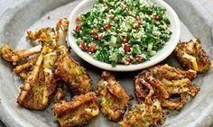 White peppercorn squid with mint tabbouleh