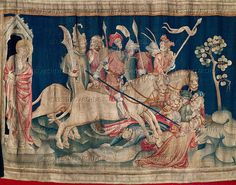 """The horsemen of the Apocalypse, from the Tapestry of the Apocalypse, made for Louis I of Anjou from cartons (patterns) by Hennequin de Bruges.The tapestry was woven in Paris in the workshop of Nicolas Bataille, 1375-1380. 168 x 500 cm. (Revelations 9:17):""""And thus I saw the horses in the vision, and them that sat on them, having breastplates of fire, and of jacinth, and brimstone.""""   Musee de la Tapisserie, Angers, France"""