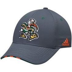 Men's adidas Charcoal Miami Hurricanes Fan Structured Flex Hat